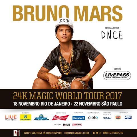 EXCURSÃO Bruno Mars  São Paulo – SP dia 22.11 2017