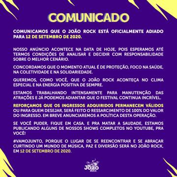 João Rock 2020 é oficialmente adiado para setembro